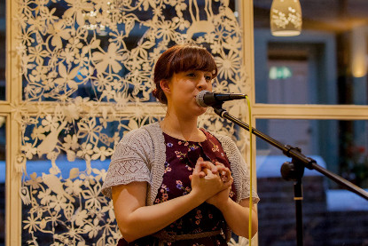 Emily Sargant Hosting the Cobbles and Clay Open Mic